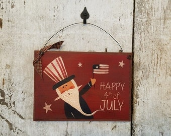 Uncle Sam, Americana, 4th of July, Americana Sign, Primitive Uncle Sam, Painted Uncle Sam, Red White Blue, Patriotic, Summer Decor, Country