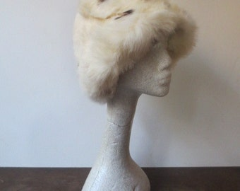 Vintage '60s/'70s White Spotted Fur Bucket Hat, Rabbit Fur, Ridiculously Warm & Cozy!