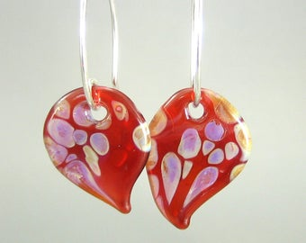 Vibrant Red Lampwork Glass Earrings - Handcrafted - Sterling Silver - Butterfly Wing Shape