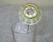 """Victorian Glass Top 10"""" hat pin - Domed reverse painted raised design - 1.25"""" across"""