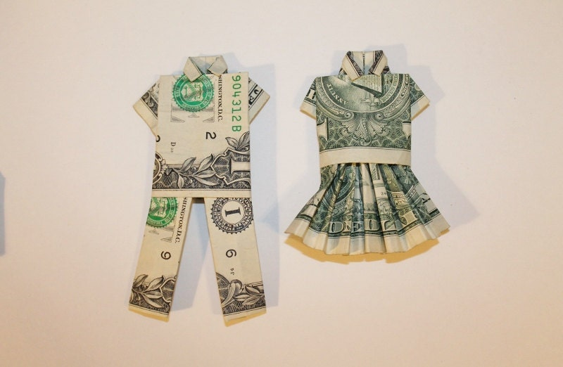 Money origami clothes dollar shirt and pants or skirt and for How to make a shirt with money