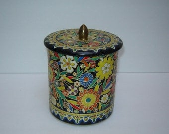 Colorful Embossed Floral Tin Biscuit Candy Container made in Holland