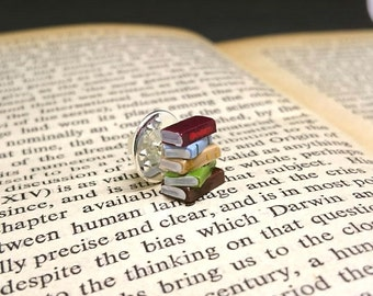 Pin Badge, Stack of Books - Book Jewellery by Coryographies