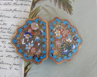 2 pc. Cloisonné Turquoise Blue Enamel Coat Clasp or Belt Buckle