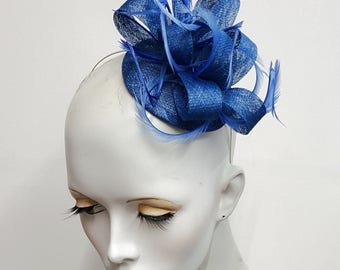 Mid cobalt blue sinamay and feather fascinator headband ideal weddings and races