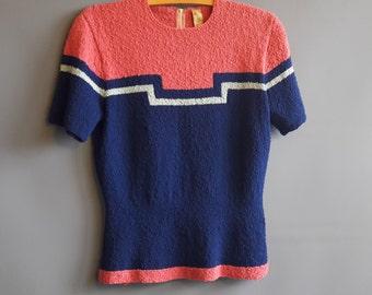 1940s art deco intarsia sweater handknit sweater vintage 40s sweater hand knit sweater 1940s sweater large Mille of California colorblock