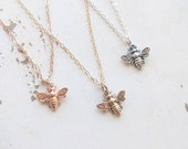 Tiny Bee Necklace, Dainty Honey Bee Jewelry - Available in Yellow Gold Fill, Rose Gold Fill, and Sterling Silver. Beekeeper Jewelry