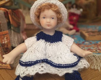 OOAK 1/12 th scale dolls house doll- 'Sunday best'