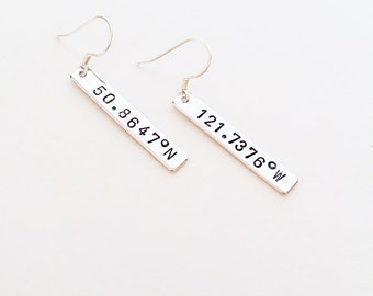 Silver or Gold Coordinates Earrings // Custom Coordinate Earrings // Geometric Jewelry // Latitude Longitude// Custom Engraved Earrings
