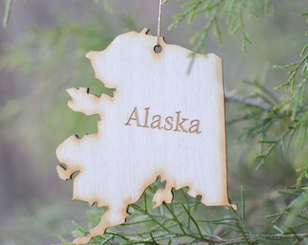 Natural Wood Alaska State Ornament