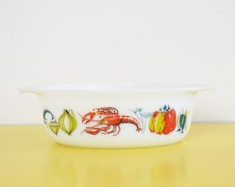 Vintage Pyrex Casserole Dish, Retro JAJ Baking Dish, Lobster Pattern Pyrex Glass Dish, Retro Pyrex Dish, Mid Century Serving Dish