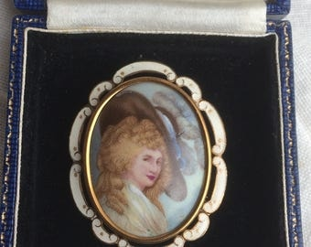 Vintage Art Deco Thomas L Mott TLM Lady Portrait Brooch