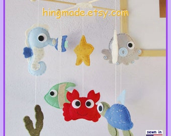 Baby Mobile, Under the Sea Mobile, Sea Animal Mobile, Cot Mobile, Sea Creatures Mobile, Go Fish Ocean,Custom Mobile