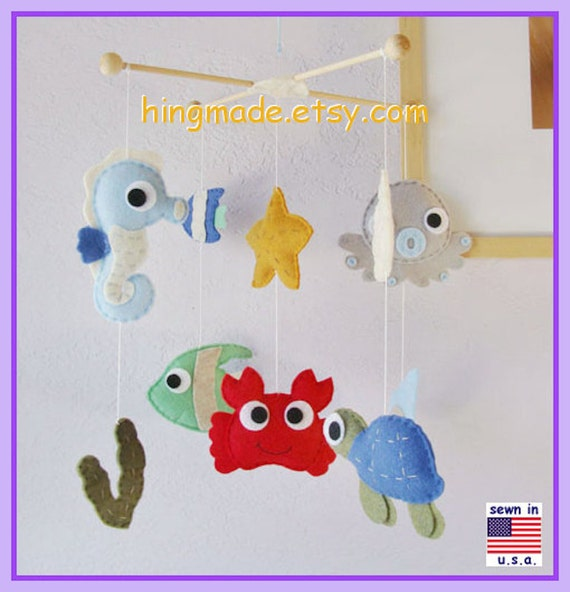 Baby mobile under the sea mobile sea animal mobile cot for Sea animal baby mobile