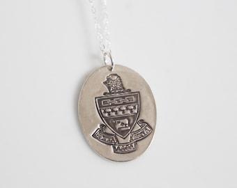 Kappa Alpha Theta Crest Necklace in Silver // Theta Crest Necklace / ΚΑΘ Necklace // Sorority Necklace /Senior Gift / Bid Day Gift