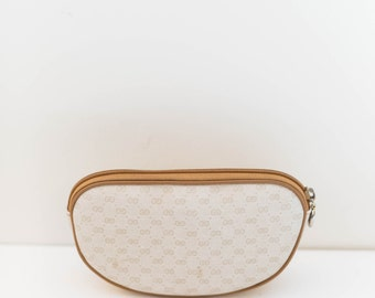 GUCCI Beige & Tan Monogram Canvas Make-up Cosmetic Bag Clutch