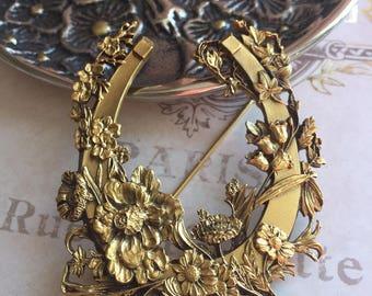 Museum of Fine Art Gilded Floral Horseshoe Brooch, MFA Horse Pin, Estate Jewelry, Kentucky Derby