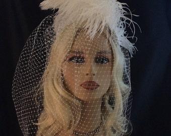 Statement Wedding Headpiece, Fascinator, Wedding Hair Fascinator, White Ostrich Hair Clip, Wedding Hair Clip, Bridal Fascinator, Speakeasy