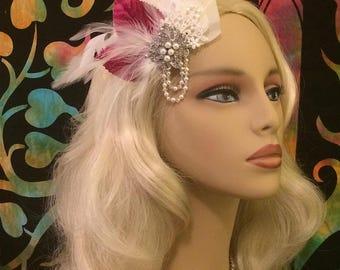 Ivory Fuchsia Feather Fascinator, Wedding Head Piece, Hair Clip ,Bridal Hair Piece, Bridal Hair Clip, Wedding Hair Clip, Bridal Fascinator