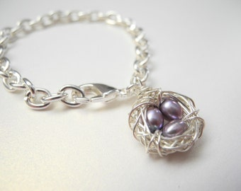 Bird Nest Jewelry, Three Lavender Colored Cultured Freshwater Pearl Eggs in a Nest Charm Bracelet