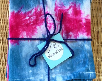Tea Towels, Kitchen Towels, Dish Towels, Hand Towels Set Shibori Tie Dye by Wave of Life
