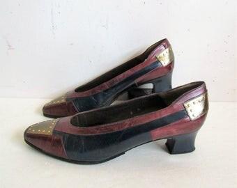 Vintage 1980s Shoes-MARGARET JERROLD 80s Purple Navy Appliqué Leather Studded Shoes 8M