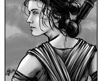 Rey Portrait Movie Poster - Artwork inspired by The Force Awakens - Black and Whte Portrait Series