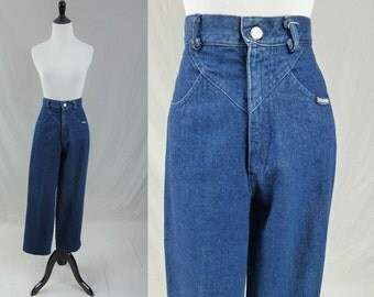 """80s Roughrider Blue Jeans - High Waisted - Circle T - Vintage 1980s - 29"""" waist"""