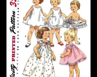 Toddlers LINGERIE Wardrobe Nightgown Petticoat Panties Slip Sewing Pattern SIMPLICITY # 1563 Child Girls *REPRODUCTION* Choose Size -1-2-3-