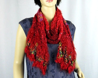 Hand Knit Scarf, Vibrant Reds, Burgundy, Greens, Chevron Pattern, Novelty Yarns, Metallic, Fluff, High Fashion, Intense Color, Sophisticated