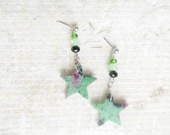 Ruby-zoisite Star Earrings