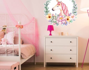 Unicorn Kids Decor - Unicorn Nursery Decor - Unicorn Wall Art - Peel and Stick Fabric Wall Decal Removable - Watercolor Unicorn with Flowers