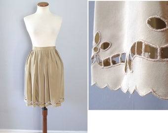 tan silky skirt - 70s scallop edge beige nude taupe floral cutout feminine pleated full knee length high waisted boho handmade xs small