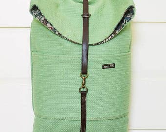 Backpack, small backpack, vegan, upcycled, recycled, eco-friendly, upholstery, green, made in barcelona