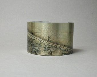 Long Beach Island New Jersey Shore Map Cuff Bracelet Custom Gift for Men or Women
