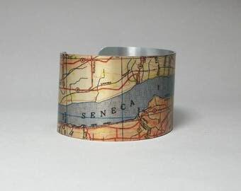 Seneca Lake New York Finger Lakes Map Cuff Bracelet Unique Gift for Men or Women