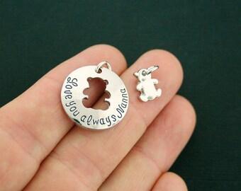 2 Nanna Charms Antique Silver Tone 2 Piece Set - Love you always - Teddy Bear Cutout - SC7073 NEW6