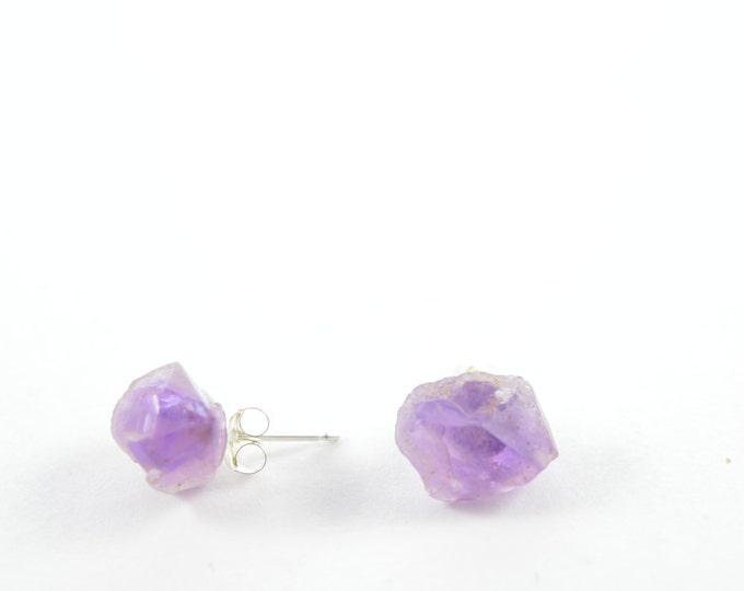 Druzy Amethyst Earrings, February Birthstone Earrings, Raw Crystal Earrings, Geode, Birthday Gift, Crystal Point Earrings, Amethyst
