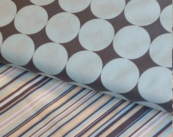 Michael Miller - Disco Dot and Play Stripe in Blue & Gray - 2 half yard cuts