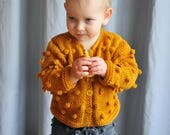 Baby / Toddler Girls Boys Hand Knitted Mustard Bobble Popcorn Merino Sweater Cardigan Baby Shower Gift 0-3-6-9-12-18-24 months 2T 3T 4T 5T 6