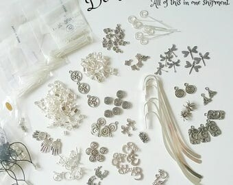 Silver Tone Jewelry Supplies, Destash Bundle Jewelry Making De-Stash, Various Supply Types: Charms  Beads Clasps Bookmarks Headpins and More