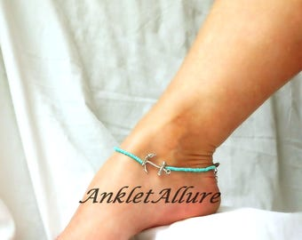 Anchor Anklet Teal Beach Ankle Bracelet Beach Anklet