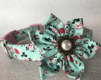 Spring Vintage Dog Collar by Collars for Canines with Fabric Flower