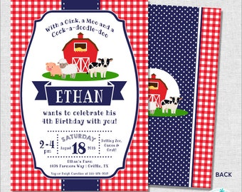 Farm Party Invitation | Farm Birthday Invitation | Farm Party Invite | Barnyard Birthday Invitation | 1st Birthday Invite | Amanda's Parties