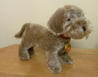 "Steiff 10"" Raudi Dog - Mohair Steiff Daschund - 1970's Steiff Dog - 1323-07"