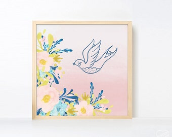 Pastel Navy Nursery Art, Woodland Nursery, Watercolor Bird Forest Nursery Artwork, Large Wall Art Nursery Pink Navy Children Wall Art Square