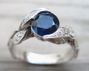 Sapphire Leaf Engagement Ring, Leaf Sapphire Engagement Ring, Natural Sapphire Ring, Leaves Engagement Ring, Natural sapphire Engagement R
