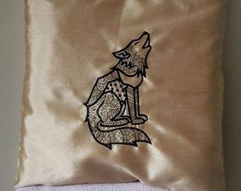 UK Cream satin pillow case, cushion cover, fantastical Mr Wolf, stylised , black design