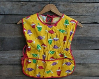 SUPER SALE - Vintage Yellow & Red Turtle and Mushroom Pinafore Smock