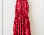Vintage 1970's Mexico Red Floral Sleeveless Halter Bohemian Jumpsuit / Size Medium Large